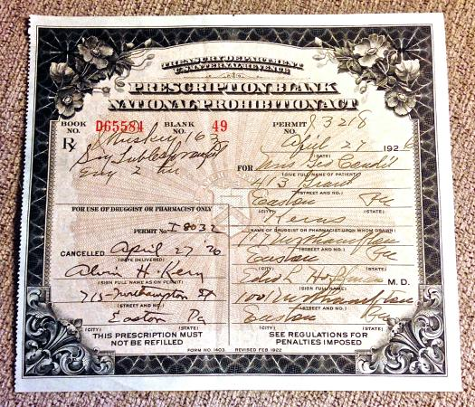 Galloway, NJ: 1926 Dr Prescription for 16oz of Whiskey!