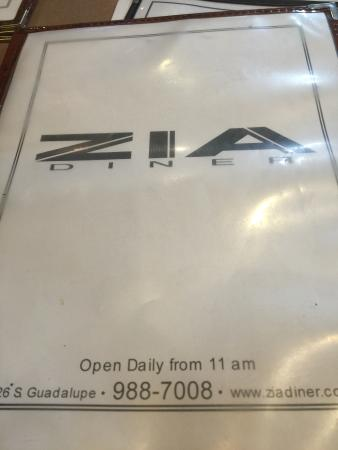 Zia Diner : Greetings from Zia!