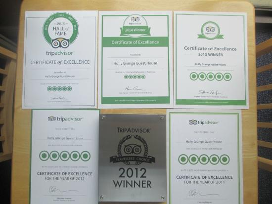 Holly Grange Guest House: Some of our awards