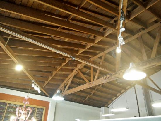 the wild plum open beam ceiling makes building feel very open - Open Beam Ceiling