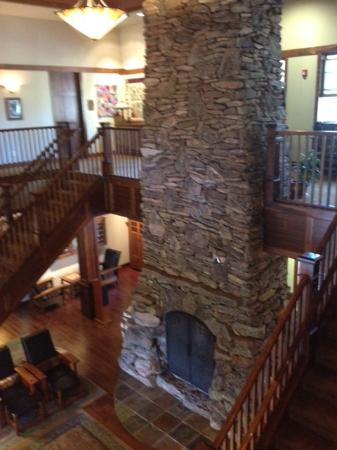 Sisters, OR: The fireplace in the lodge.