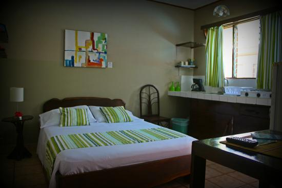 Hotel Perico Azul : Green one double bed private bathroom art by Tico Pot