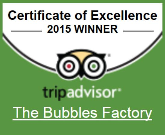 The Bubbles Factory: Certificate of Excellence