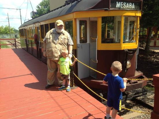 Minnesota Discovery Center: Grandpa and boys board the trolley.