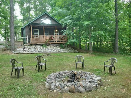 Cabin and firepit picture of white oak ridge cabins for Bumping lake cabin rentals
