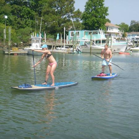 Rudee Inlet Stand Up Paddle: heading out after a few minutes of lessons