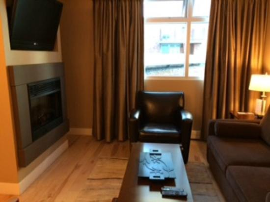 Sitting area with sofa bed, fireplace and flatscreen TV