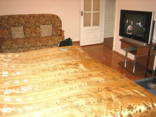 Heghnar hotel: большая кровать, диван и телевизор