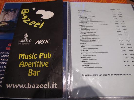 Bazeel: Выдержка их меню