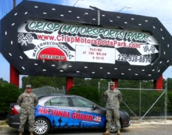 Watermelon Capital Speedway: Ga National Guard shot with entrance sign