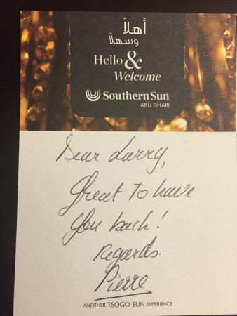 Southern Sun Abu Dhabi: Welcome Note
