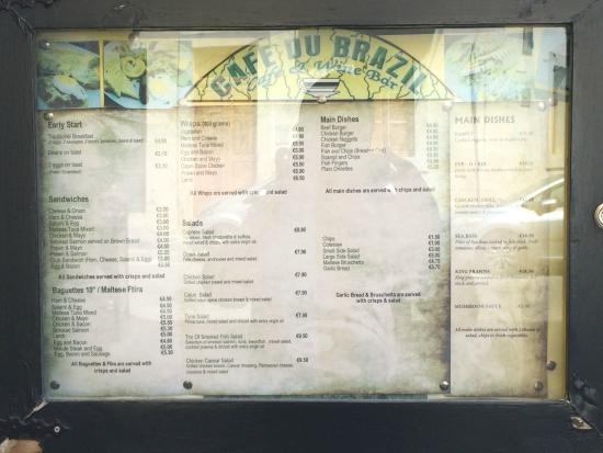 Cafe du Brazil: Menu