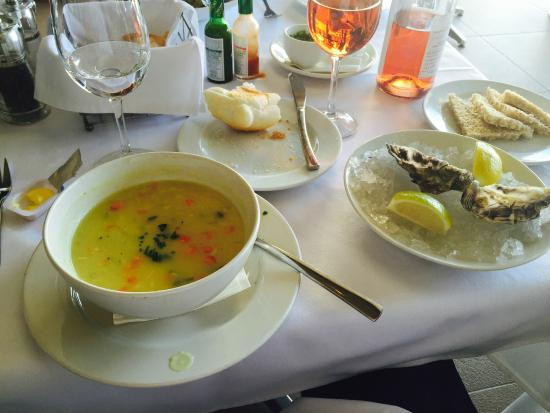 Fishmonger Illovo: Fish soup with live oysters