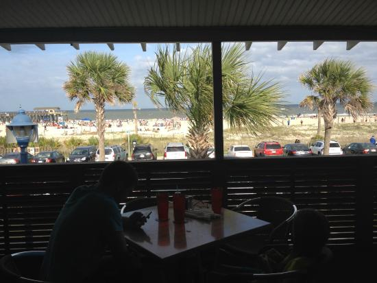 Spanky's Beachside: My kids at the table and our view