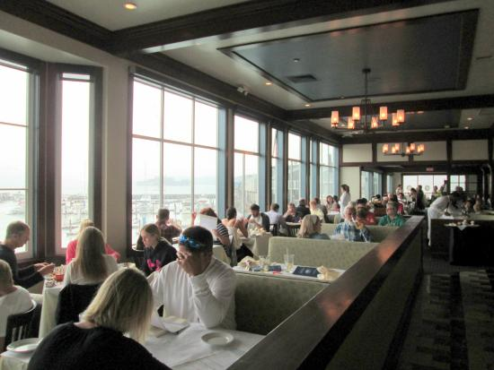Looking out toward the bay from the main dining room for Fog harbor fish house san francisco