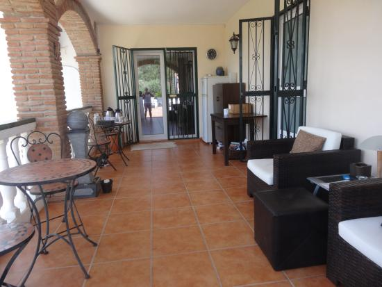 Alora Valley View Accommodations: The veranda before the B&B rooms where breakfast is served