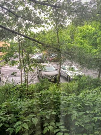 New Providence, Nueva Jersey: Parking lot around the hotel, view from the room