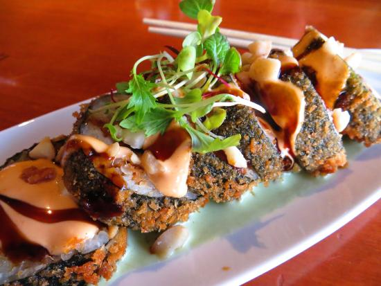 "Roy's - Kaanapali: ""Frying Dragon Roll""! Unagi, miso butterfish, sweet wasabi butter with macadamia nuts. YOWZERS!!"