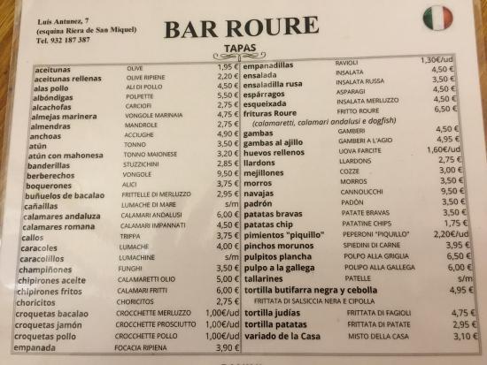 Bar Roure : Tapas menu