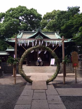 Yoyogi Hachimangu Shrine: 目の前にあるのが、「茅の輪」。くぐると厄除けになります。