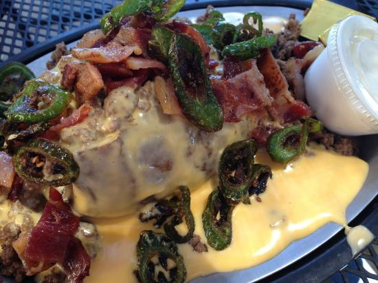 Heyburn, ID: Cheeseburger potato with bacon and jalapeños