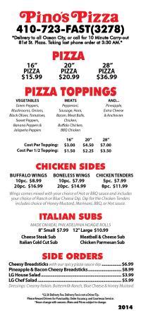 Pino's Pizza: 2015 menu