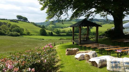 Little Quarme Cottages : Pergola and view of the valley beyond