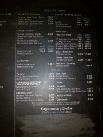 Bayres beef Argentina en tapas: Carta / Menu