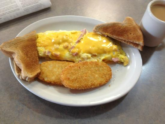 Macedon, NY: Ham & cheese omelet with home fries