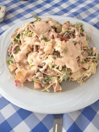 Chicken & mushrooms with a mustard sauce plus salad - Picture of ...