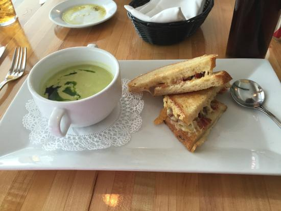 Fig Bistro: Cold soup and grilled cheese and bacon sandwich special - very good