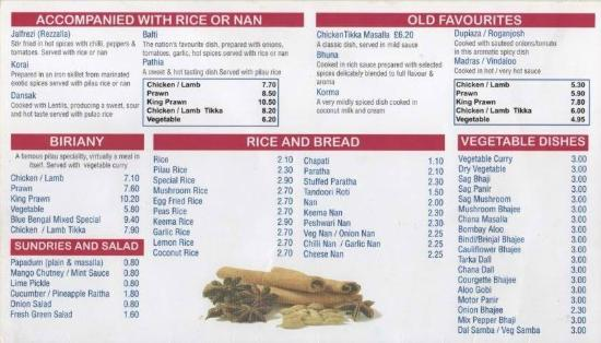 Blue bengal food menu picture of blue bengal carshalton for Arman bengal cuisine dinas menu