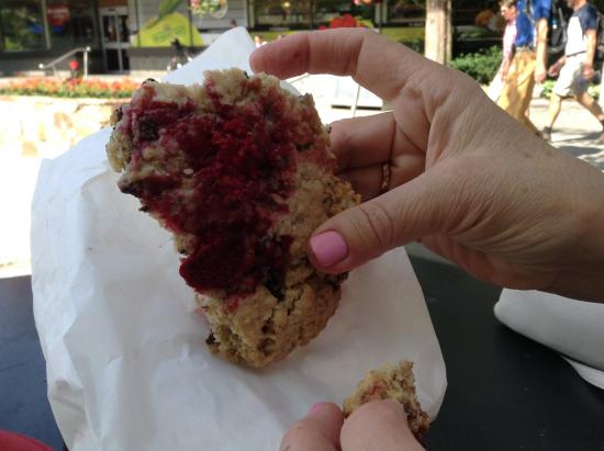 Mogul's Coffee House: A portion of the Raspberry Chocolate Chip Cookie.  My sister said this was one of the best cooki