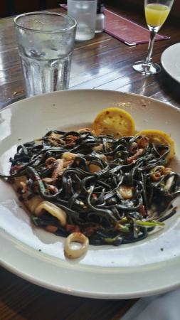 Tello Italian Bistro: Seafood with Squid Ink Linguine