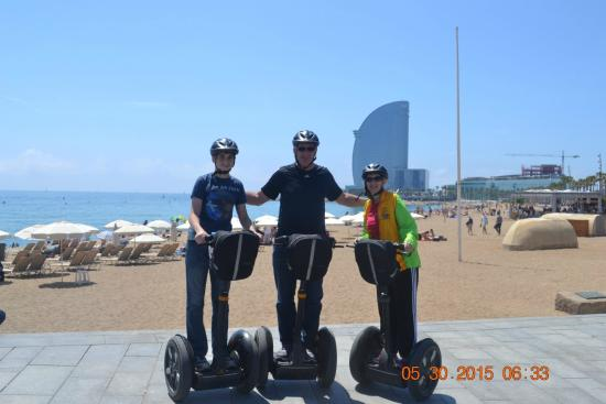 Segways in front of the Mediterranean Sea in Barcelona ...