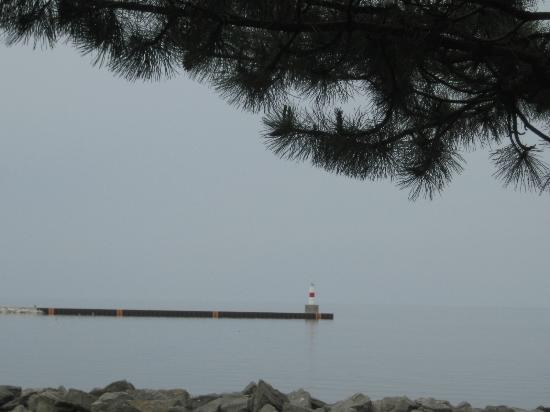 Historic Gaslight District: lighthouse, downtown Petoskey