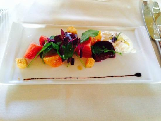Suzanne Fine Regional Cuisine: Beets in many colors, with burrata and balsamic, toasted brioche crouton.