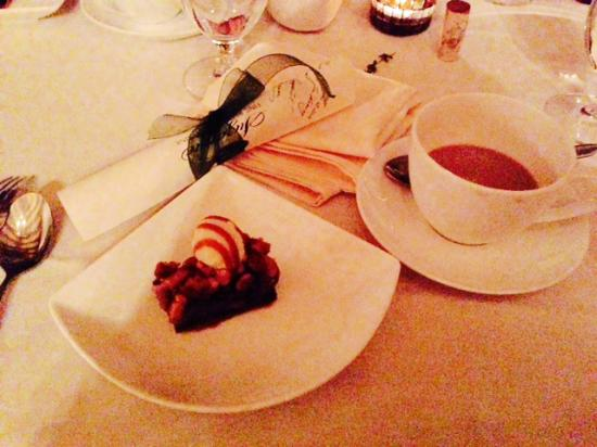 "Suzanne Fine Regional Cuisine: A dessert amusement: after the cheesecake, came a ""Snickers Bar""."