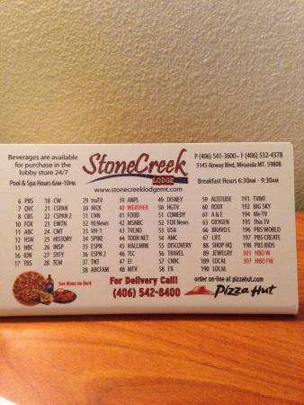 StoneCreek Lodge Missoula: Pizza delivery