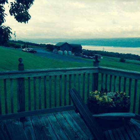 Inn at Chateau LaFayette Reneau: View of CLR Winery and Lake Seneca from Inn's deck. Lovely patio for a drink.