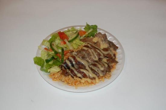 Beef shawarma rice and salad plate picture of the pita for Asian cuisine sudbury ontario