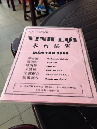 Vinh Loi: Menu for Breakfast!