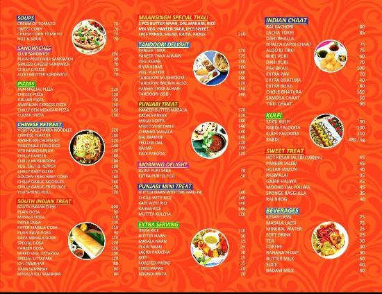 Menu Card Picture Of Maansingh S Veg Restaurant