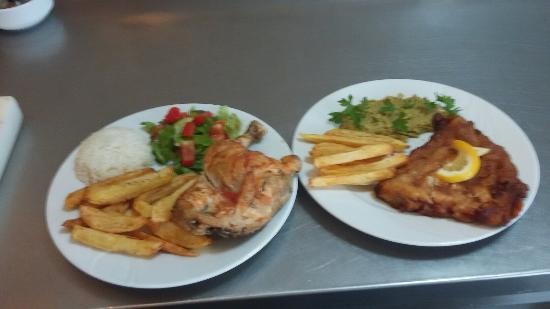 Smiley's Grill: Liver onion and half roast chicken and fish ans chips best home made foods