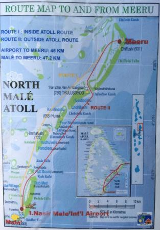 Meeru Island Resort Spa Map Of Route To From Male