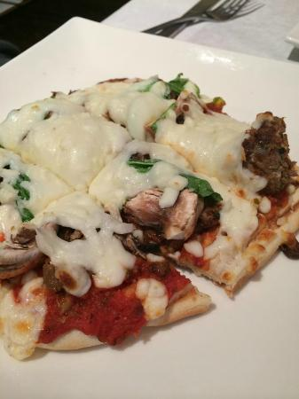 Three Peaks Dinner Table : Spicy sausage pizza-warning, it is spicy! Love it!
