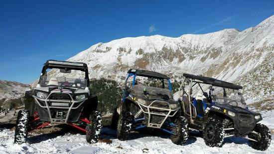 Pitkin, CO: RZR rentals on a snowy day at 12,000ft