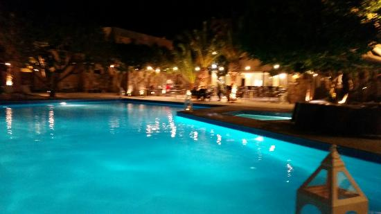 Elounda Palm Hotel: Main pool by night and private pool by day