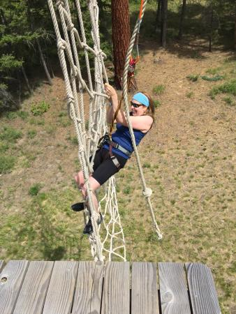 WildPlay Element Parks Kelowna : Tarzan across and grab the net