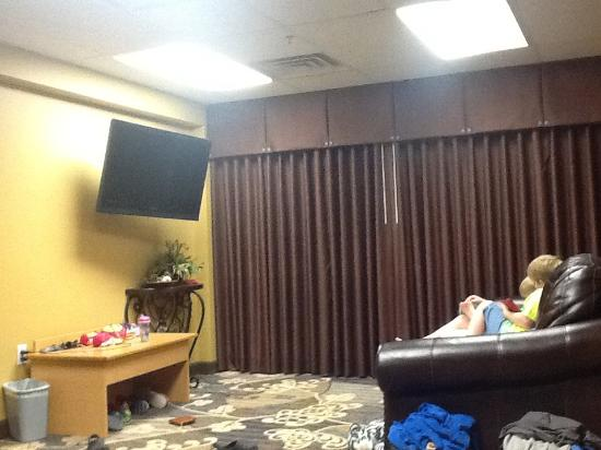 Quality Inn Near Dixie Stampede: This is just the living room area great cable selection and that couch folds out to a queen bed.
